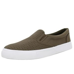 Olive Perforated White Rudder Soles Slip On Sneake